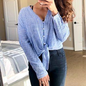 RAILS Sloane Linen Blue Stripe Tie Front Blouse